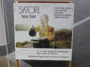 Satori Tea Bar sign.  Photo: Elizabeth Urbach.