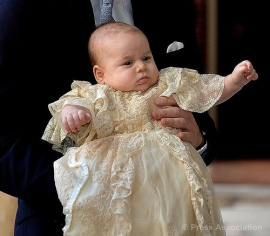 Prince George of Cambridge in the reproduction christening gown.