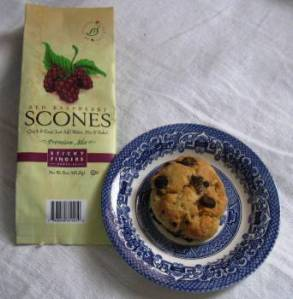 Sticky Fingers Red Raspberry scone and package.  Photo: Elizabeth Urbach.